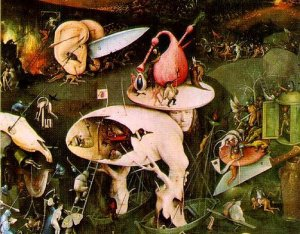 "Detail from the right (""Hell"") panel of Hieronymous Bosch's ""The Garden of Earthly Delights"" c. 1500"